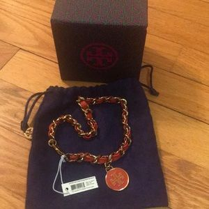 Tory Burch Leather snd chain Double Wrap Bracelet